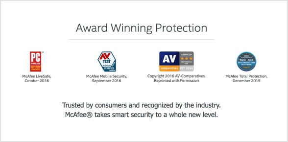 McAfee is award winning and easy to use